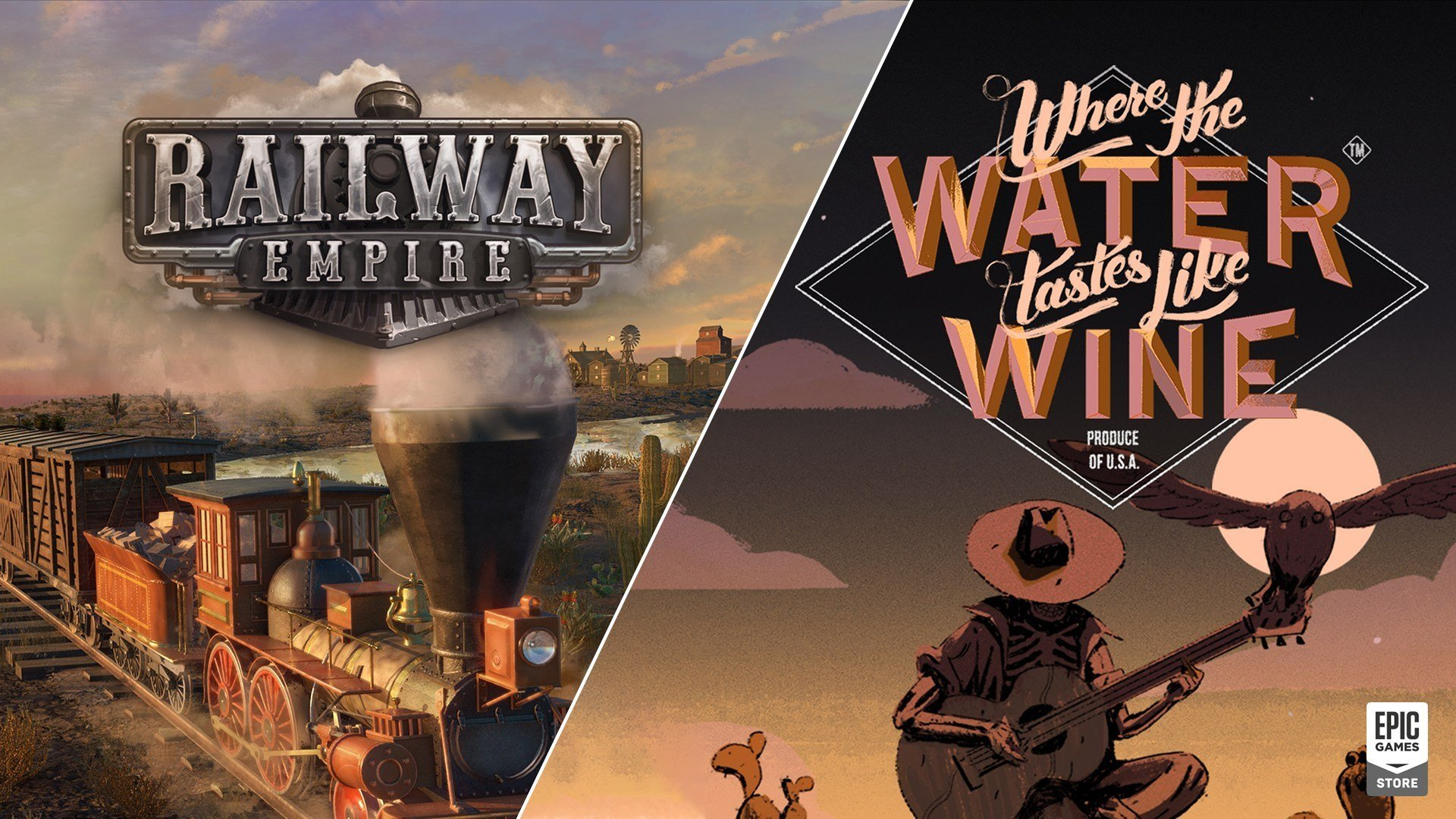 Railway Empire e Where The Water Tastes Like Wine de graça na Epic Games