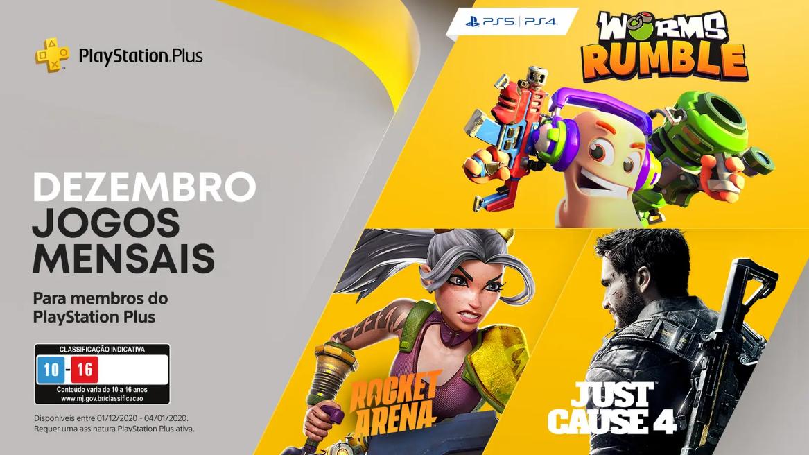 Worms Rumble, Just Cause 4 e Rocket Arena de graça na PlayStation Plus de dezembro