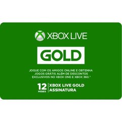 Assinatura Xbox Live Gold - Gift Card de 12 Meses