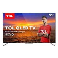 "Smart TV TCL QLED Ultra HD 4K 55"" Android TV com Google Assistant, Design sem Bordas"