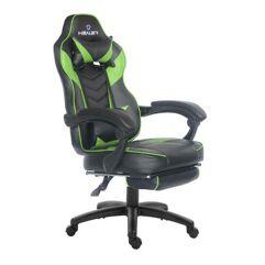 Cadeira Gamer Reclinável com apoio de pés Alien Healer TM - Preto/Verde