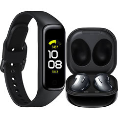 Kit Fone de Ouvido Wireless Samsung Galaxy Buds Live + Smartband Samsung Galaxy Fit2