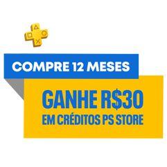 Assinatura PS Plus 12 Meses com R$30 de crédito