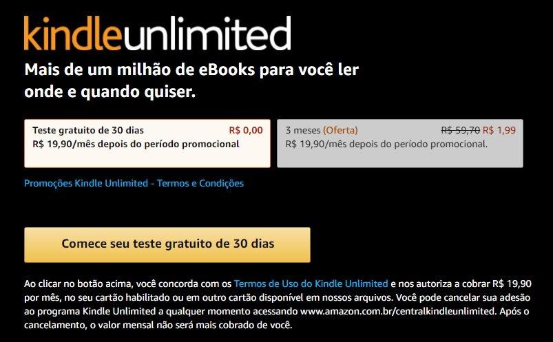 kindle unlimited amazon 1,99 promocao
