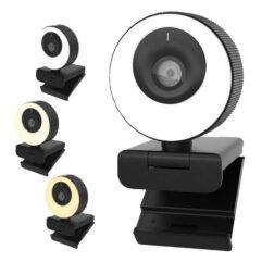 Webcam WB PRO Com Ring Light 60 FPS Full HD 1080p