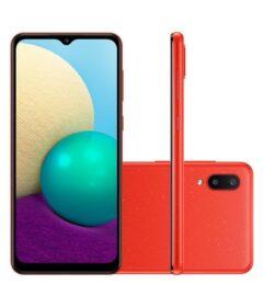 Smartphone Samsung Galaxy A02 32GB - Azul/Preto/Vermelho