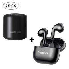 Combo Fone sem fio Lenovo LP40 Bluetooth + Caixa Lenovo L01 Mini Bluetooth