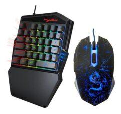 Teclado Gamer de Uma Mão J50 Com LED + Mouse Gamer RGB com Fio