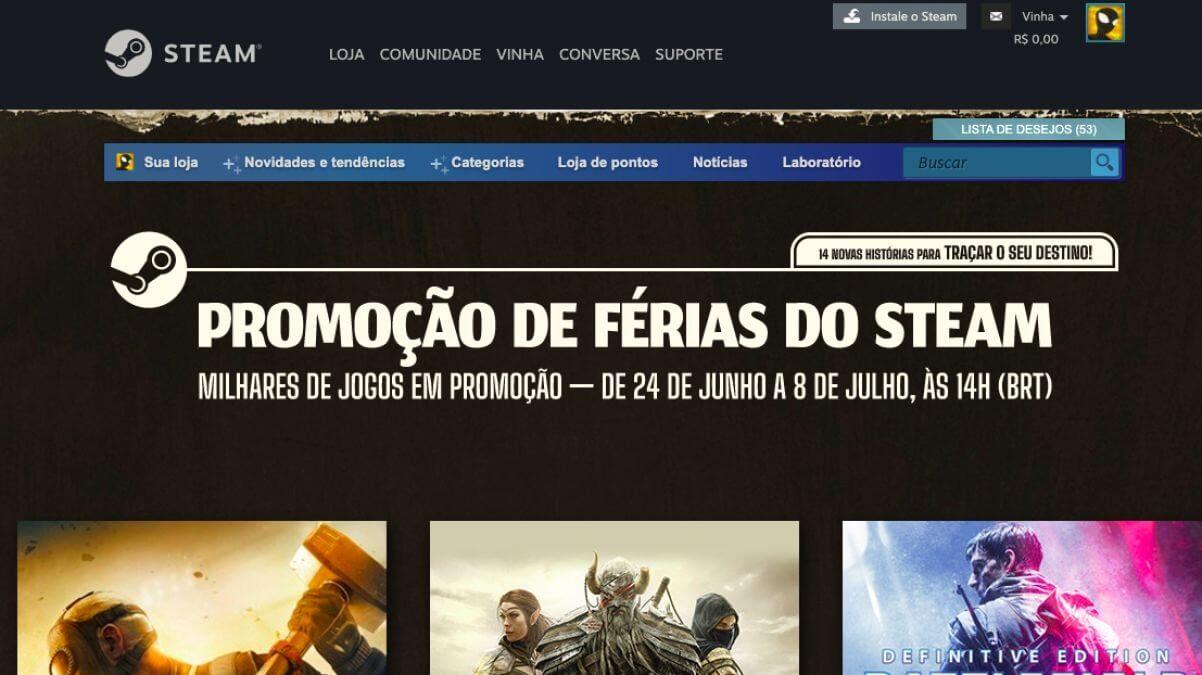 Promoção de Férias da Steam: se joga que está valendo muito a pena