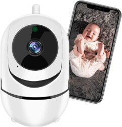 Câmera de Segurança WiFi XFTOPSE Câmera Sem Fio 360º de Monitoramento Interna IP Camera 1080P com Áudio Bidirecional, Detecção de Movimento, IR Visão Noturna