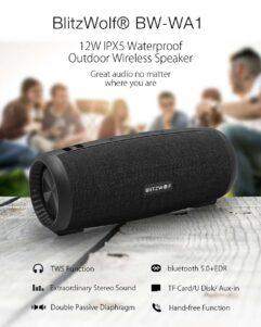 Caixa de Som Blitzwolf BW-WA1 12W Sem Fio Bluetooth 5.0 Alto-Falante Duplo