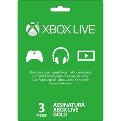 Gift_Card Xbox Live Gold - 3 Meses - Cartão Físico