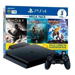 Console_PlayStation 4 1TB Mega Pack V18 Ghost of Tsushima + God of War + Ratchet & Clank